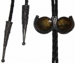 Indian and Buffalo 'Coins' in Horseshoes Bolo Tie. Code BTWW11E